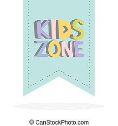 crianças, zona, engraçado, colorido, sinal, letters., vetorial, ilustração