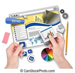 criando, site web, modelo, com, desenhista gráfico