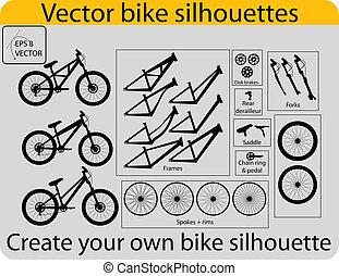 criar, bicicleta, silhuetas