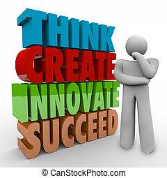 criar, inove, pessoa, pensador, suceder, palavras, pensar, 3d