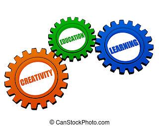 criatividade, cor, educação, engrenagens, aprendizagem