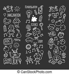 criatividade, feliz, estudantes, estudo, imaginação, pesquisa, doodle, escola, aventura, crescer, children., ciência, ícones, kindergarten., explorar, jogo, kids.