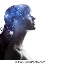 criatividade, perfil, concept., cérebro, científico, cosmos, brain., mulher