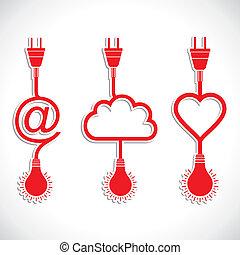 criativo, ícone, desenho, de, coração, e, c