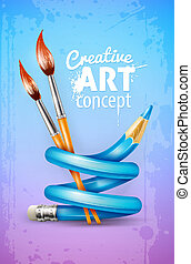 criativo, arte, conceito, com, torcido, lápis, e, escovas, para, desenho