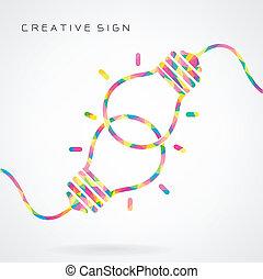 criativo, bulbo leve, idéia, conceito, fundo, desenho, para,...