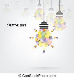 criativo, bulbo leve, idéia, conceito, fundo, desenho