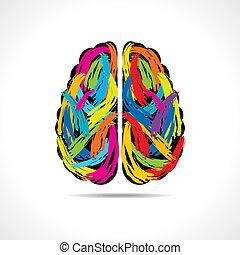 criativo, cérebro, com, pintura, golpes