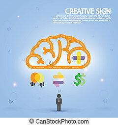 criativo, cérebro, símbolo, símbolo, sinal, educação, ícone