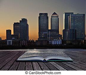 criativo, conceito, imagem, de, escritório, torres, em, páginas, de, livro
