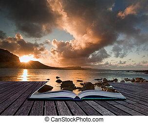 criativo, conceito, imagem, de, seascape, em, páginas, de, livro