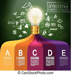 criativo, conceito, infographic, com, mais claro, bulbo