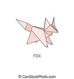 criativo, cor-de-rosa, animal, dobrado, forma, isolado, raposa, origami, selvagem, fundo branco, papel