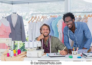 criativo, desenhistas, moda, trabalhando escritório, junto