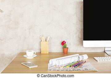 criativo, desktop, com, esboços