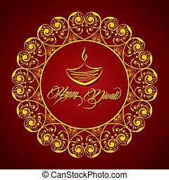 criativo, diwali, saudação, vetorial