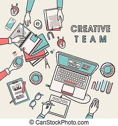 criativo, equipe, trabalhando lugar