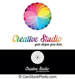 criativo, estúdio, logotipo, modelo