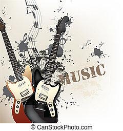 criativo, grunge, música, fundo