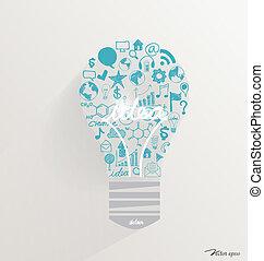 criativo, idéia, em, bulbo leve, como, inspiração, conceito,...