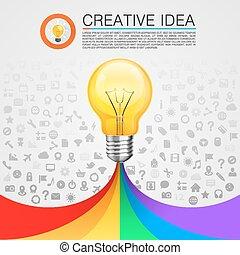 criativo, idéia, lâmpada, com, arco íris