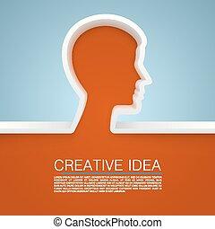 criativo, idéia, mão., vetorial, ilustração