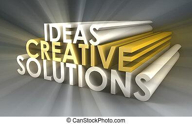 criativo, idéias, e, soluções