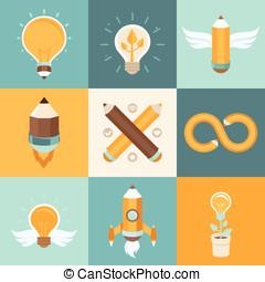 criativo, idéias, vetorial