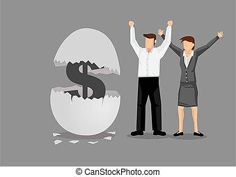 criativo, ilustração, caricatura, vetorial, dinheiro, ninho...