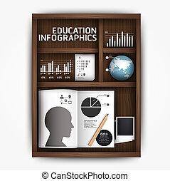 criativo, infographics, educação, prateleira, livro, caixa, conceito, vetorial, ilustração