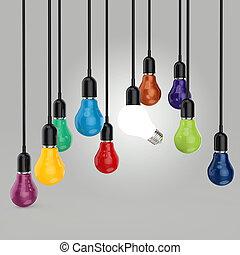 criativo, liderança, bulbo, idéia, luz, cores, conceito