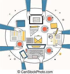 criativo, lugar, trabalhando, equipe