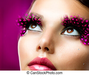 criativo, makeup., eyelashes falsos