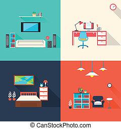 criativo, mobília, ícones, jogo, em, apartamento, desenho