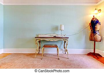criativo, moda, estúdio, sala, como, um, escritório lar, interior.
