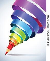 criativo, modelo, com, lápis, e, colorido, espiral, fita