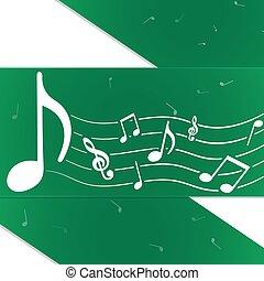 criativo, notas música, verde