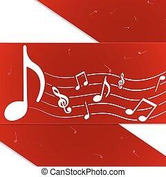 criativo, notas música, vermelho