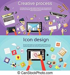criativo, processo, digital, logotipo, ícone, desenhista,...