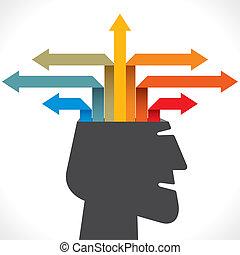 criativo, saída, ou, seta, info-graphics