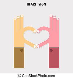 criativo, sinal mão, e, coração, abstratos, vetorial, logotipo, design., mão, forma coração, symbol.teamwork, e, negócio, criativo, logotype, concept.