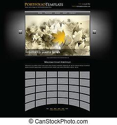 criativo, site web, portfolio, modelo, para, desenhistas, e,...