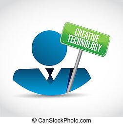 criativo, tecnologia, homem negócios, sinal