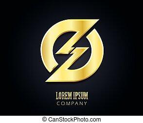 criativo, vetorial, logotipo, desenho, template., dourado, símbolo