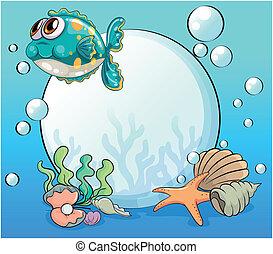 criaturas, mar, debajo