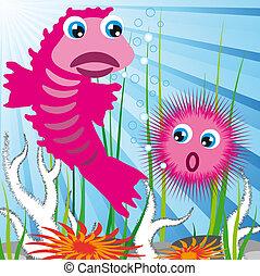 criaturas, mar, fundo