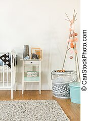 Crib and small table - Picture of crib and small table with...