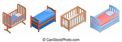 Crib icon set, isometric style