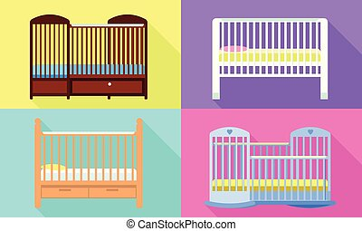 Crib icons set. Flat set of crib vector icons for web design