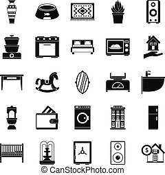 Crib icons set, simple style